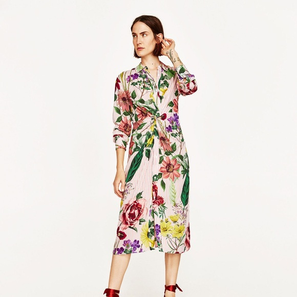 3c8ed0fd Zara Dresses | Nwt Floral Striped Printed Midi Shirt Dress | Poshmark